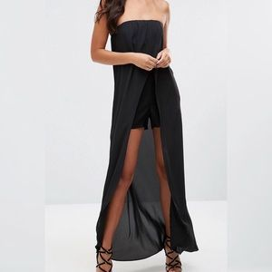Bandeau maxi romper with sheer insert